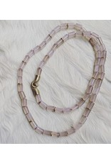 Rose Quartz Bead Necklace with Brass Discs and Bronze Clasp