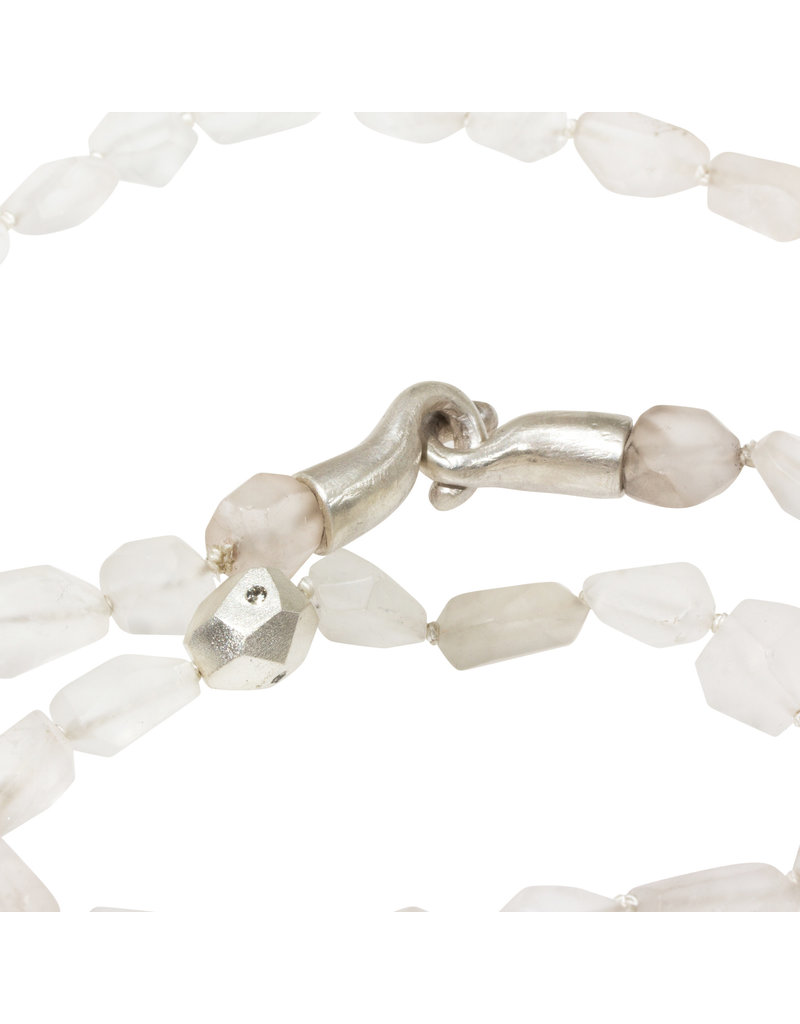 Matte Quartz Crystal And Silver Bead with Gray Sapphires