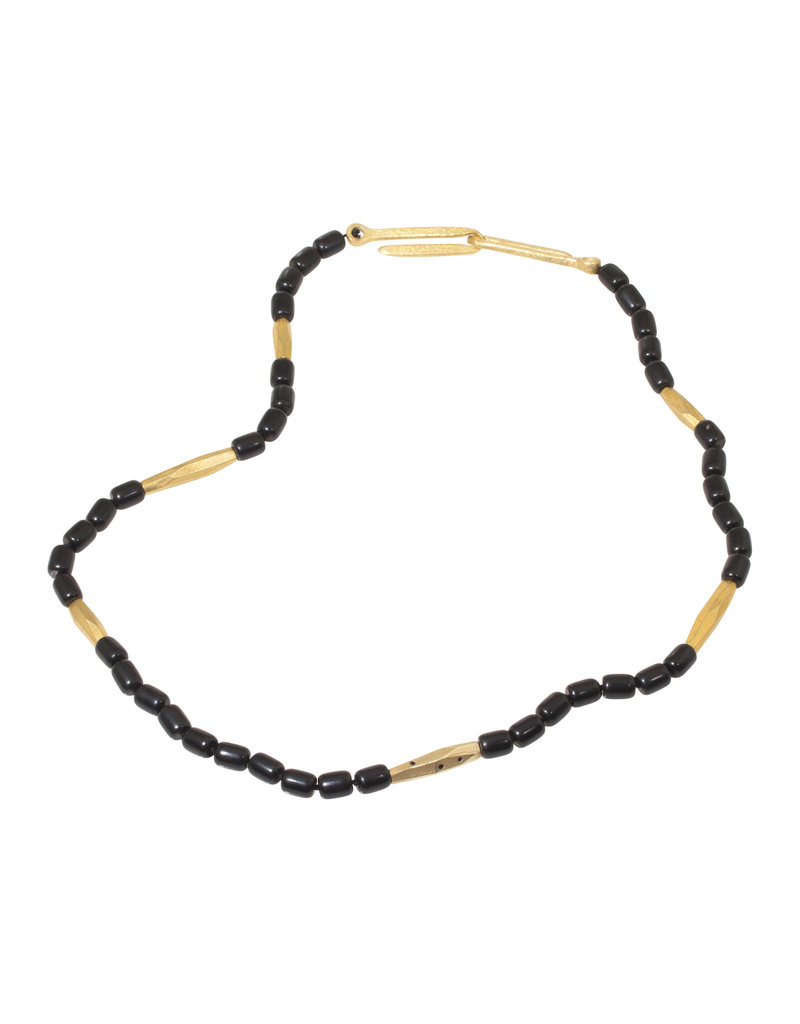 Jet Bead Necklace with Bronze Beads and Black Sapphires
