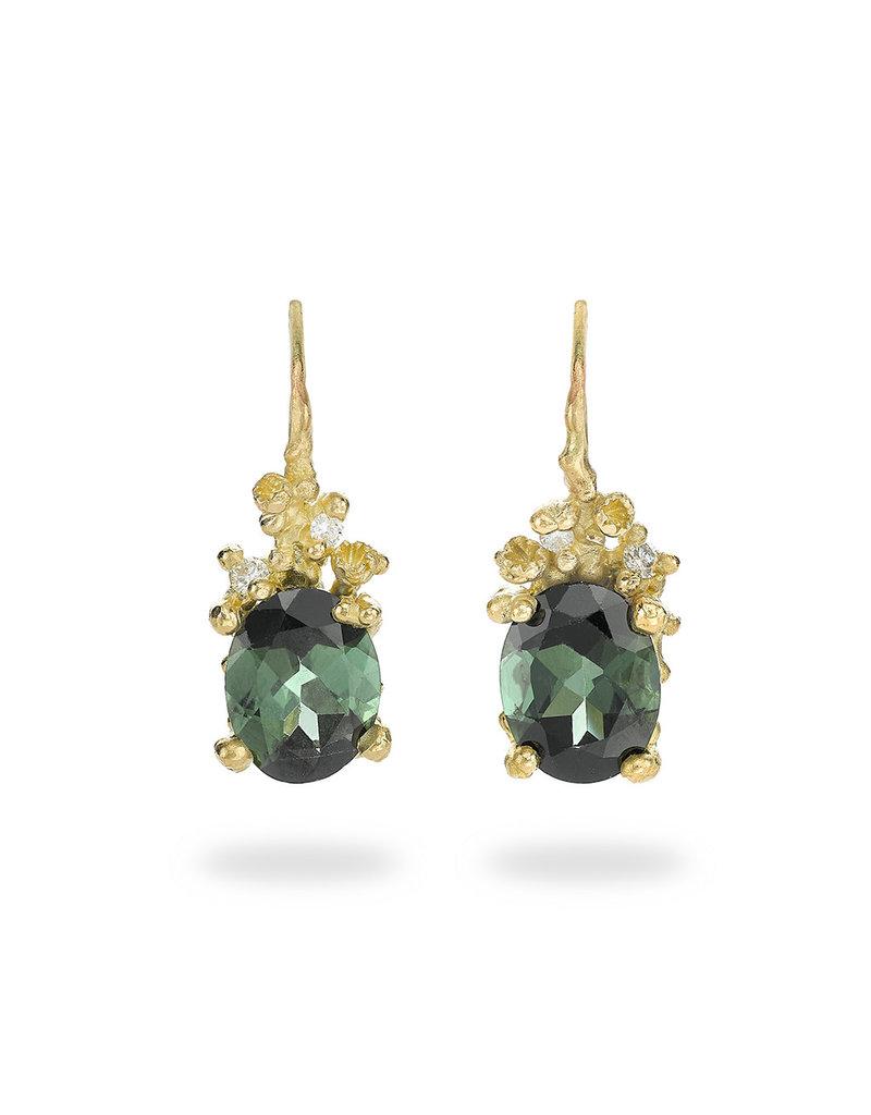 Green Tourmaline Drop Earrings with Diamonds & Barnacles in 18k Yellow Gold