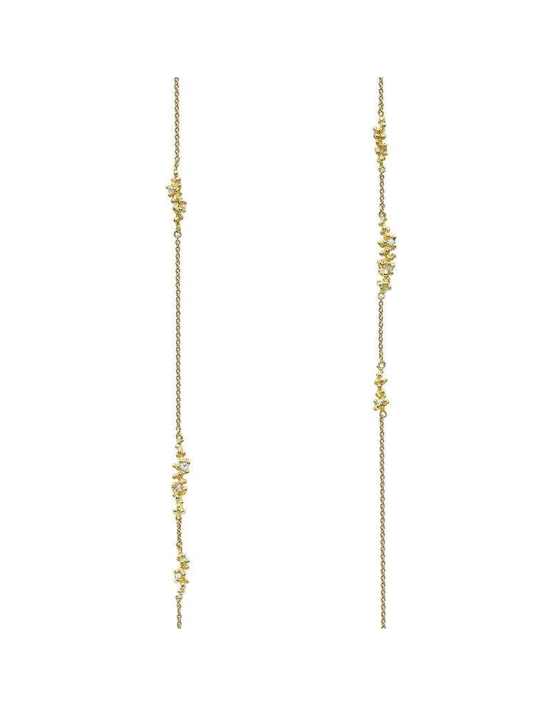 Long Diamond & Granule Encrusted Chain in 18k Yellow Gold