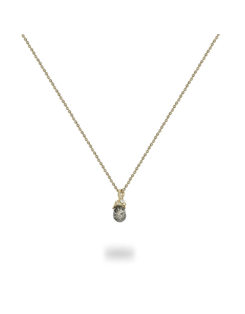 Mini Champagne Diamond Pendant in 14k Yellow Gold