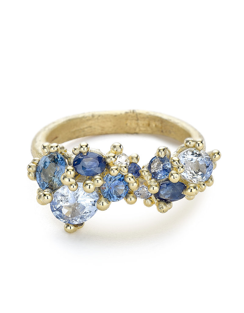 Mixed Sapphire Encrusted Ring in 14k Yellow Gold