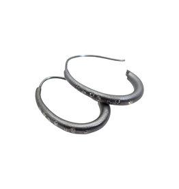 Oval Hoop Earrings with Oval Wire in Oxidized Silver