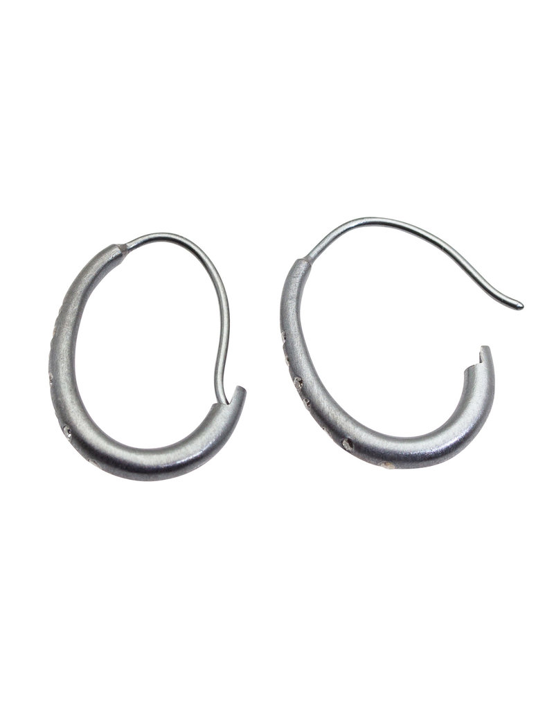 Small Oval Katachi Hoop Earrings with Wire in Oxidized Silver