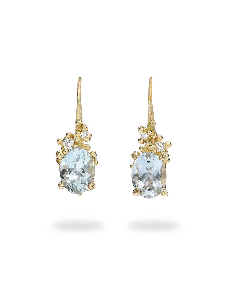 Oval Aquamarine Encrusted Drop Earrings with Diamonds in 14k Yellow Gold