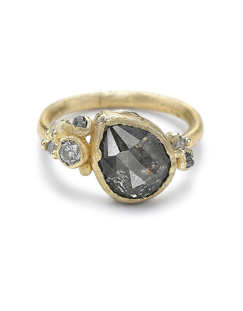 Pear Shaped Rosecut Diamond Ring in 14k Yellow Gold