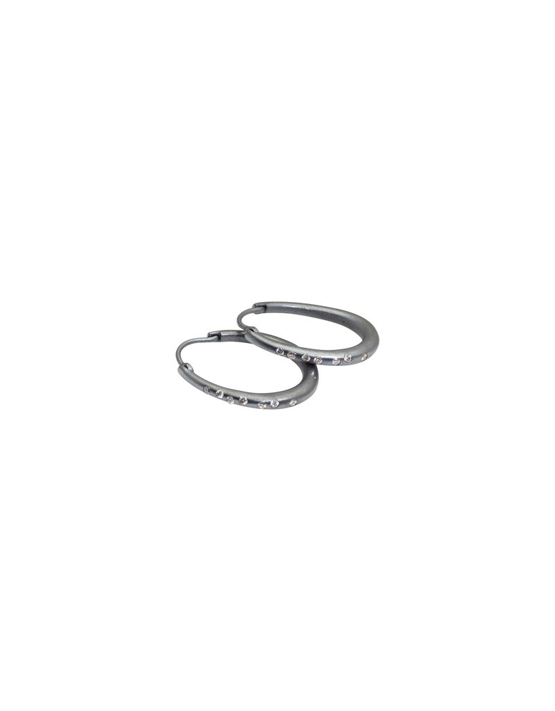 Oval Hoop Earrings with Locking Wire in Oxidized Silver and White Diamonds