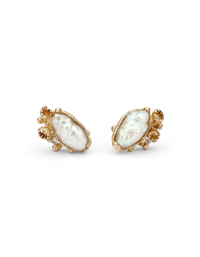 Pearl Encrusted Post Earrings with Barnacles in 14k Yellow Gold