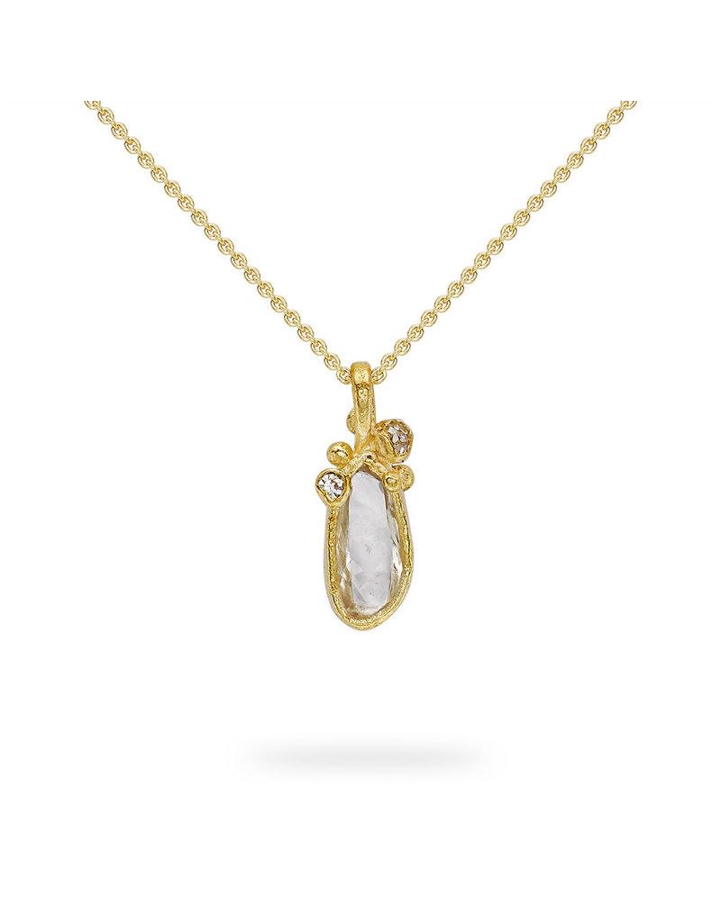 Raw Diamond Pendant in 18k Yellow Gold