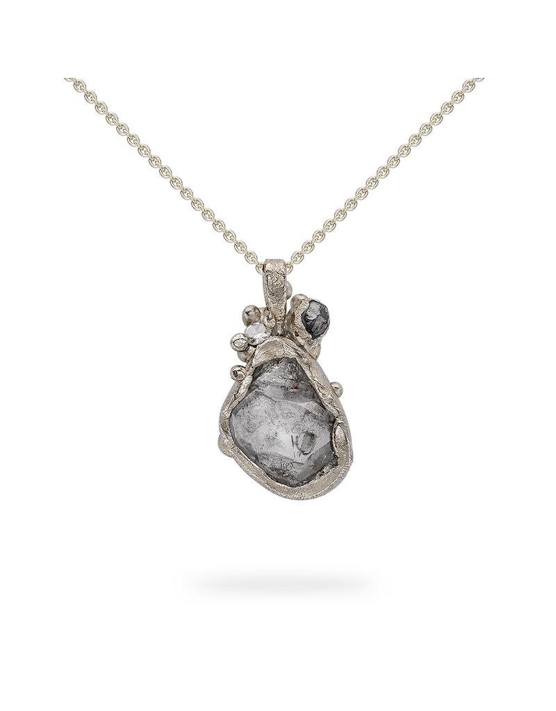 Raw Grey Diamond Pendant in 18k White Gold