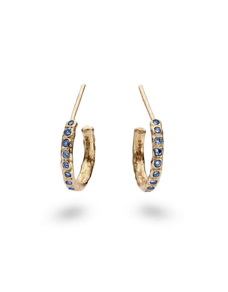 Sapphire Beaded Hoop Earrings in 14k Yellow Gold
