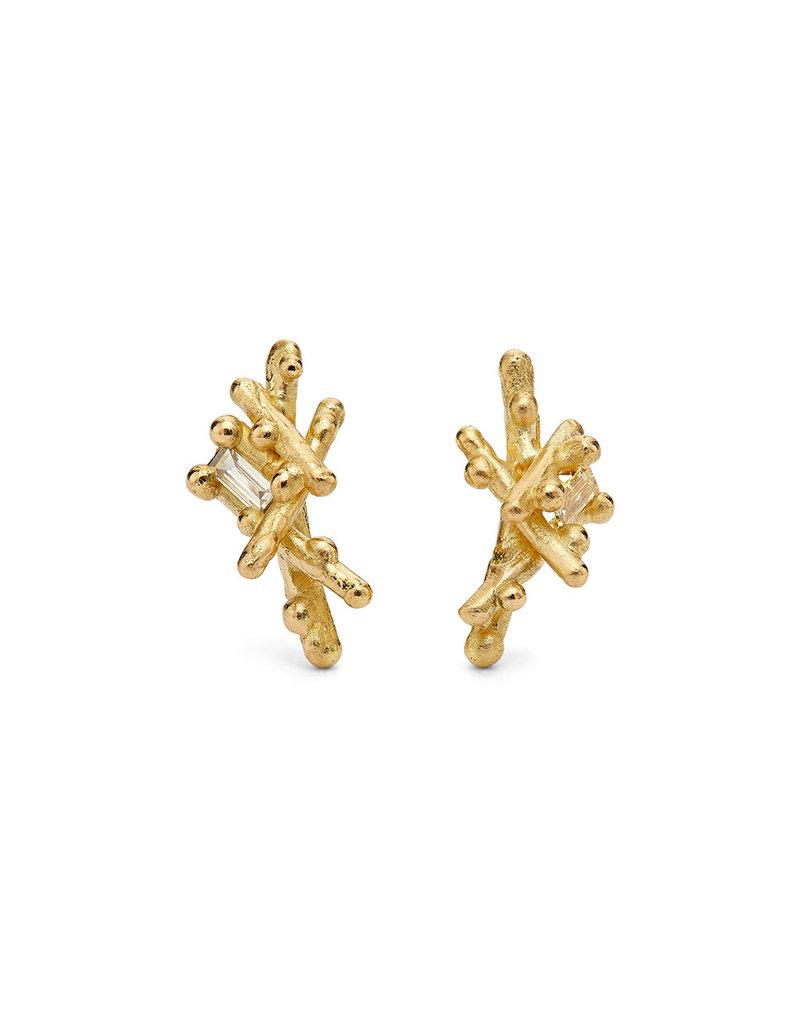 Small Baguette Diamond Post Earrings in 18k Yellow Gold