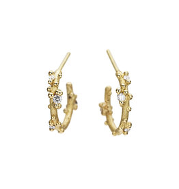 Small Diamond Encrusted Hoop Earrings in 18k Yellow Gold