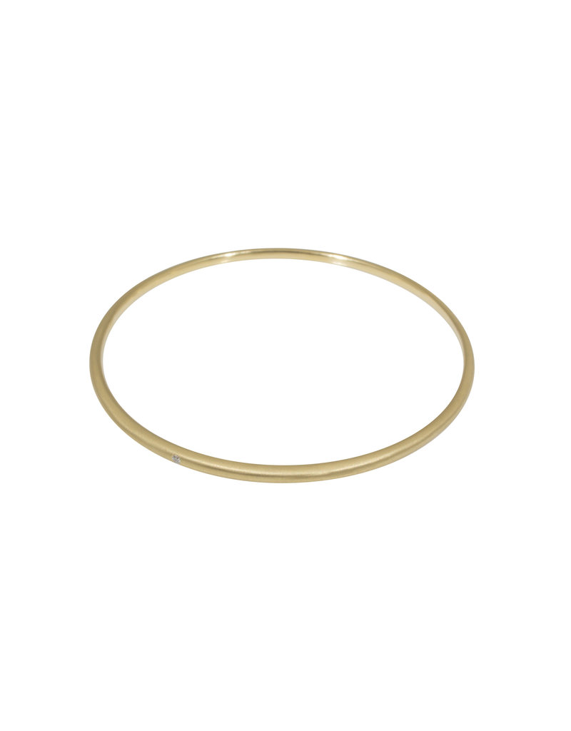 Delicate Tapered Bangle 14k Yellow Gold with White Diamond