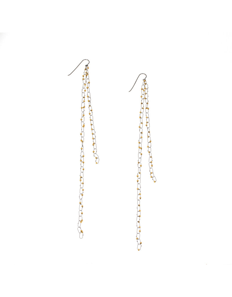 Extra Long Constellation Earrings with Gold Glass beads in Oxidized Silver