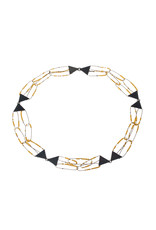 Triangle and Golden Bead Constellation Necklace in Oxidized Silver