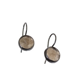 Round Mica Dangle Earrings in Oxidized Silver