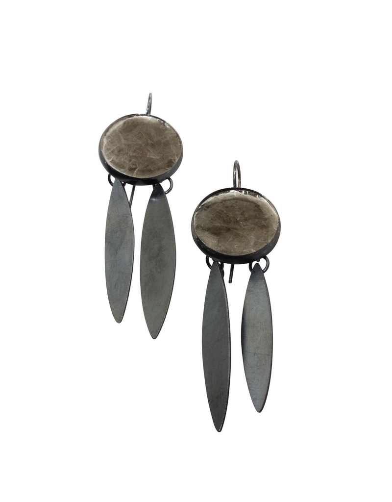 Mica Earrings with Double Marquis Drop in Oxidized Silver