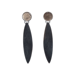 Mica Earrings with Single Maquis Drop in Oxidized Silver