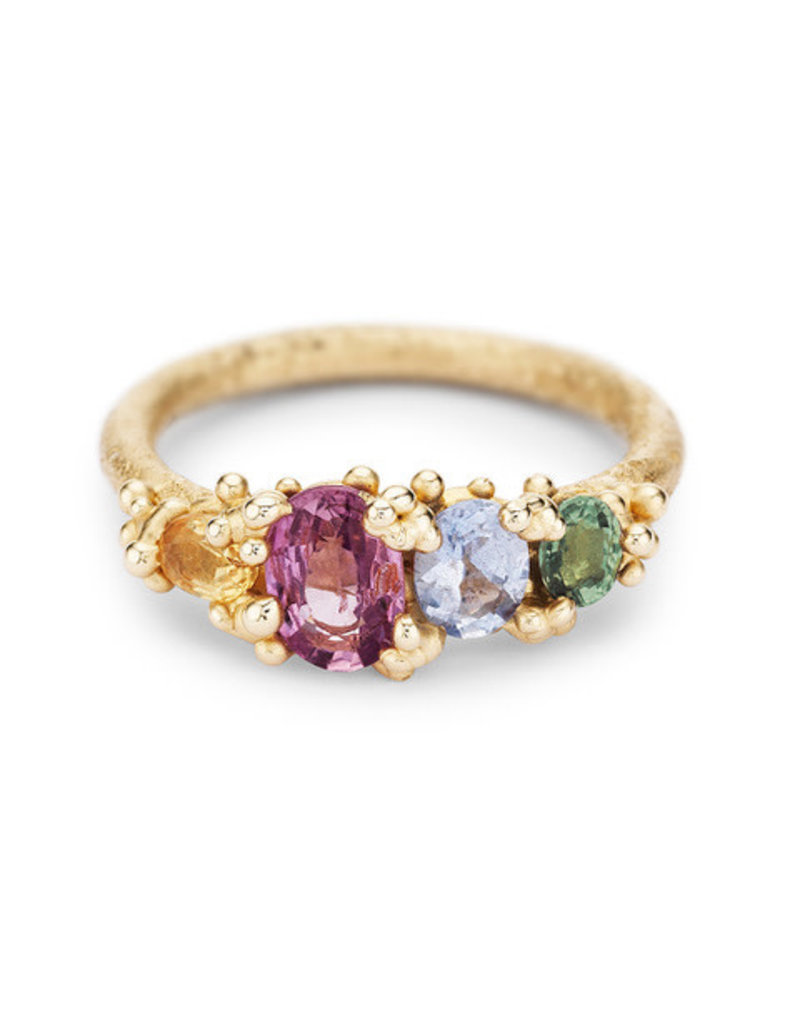 Four Stone Sapphire Ring, 14ct yellow gold, sapphires