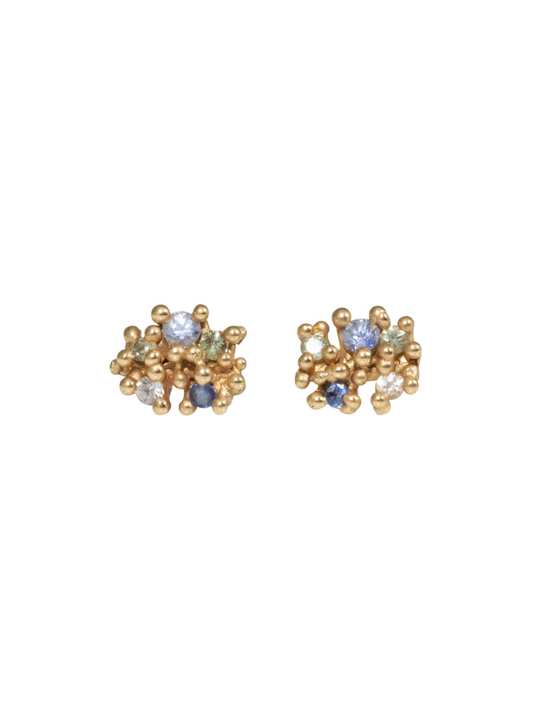 Encrusted Sapphire Cluster Post Earrings in 14k Yellow Gold