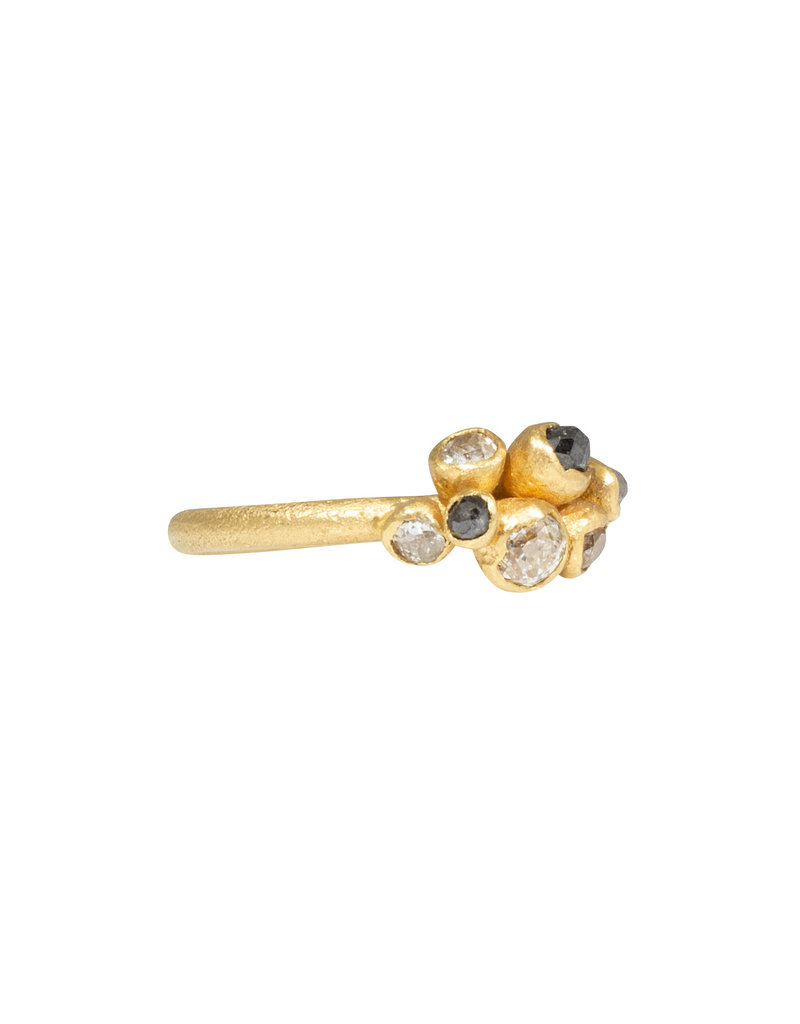Mixed Diamond Cluster Ring in 18k Yellow Gold