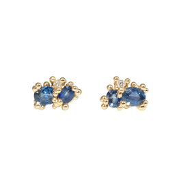 Sapphire Post Earrings with Diamonds in 14k Yellow Gold