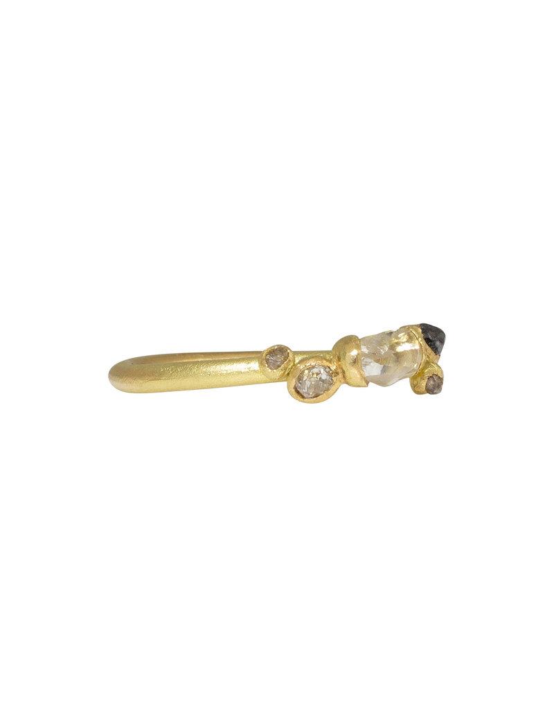 Raw Diamond Ring with Grey Diamonds in 18k Yellow Gold