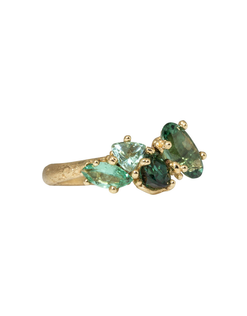 Asymmetrical Tourmaline Encrusted Ring in 14k Yellow Gold