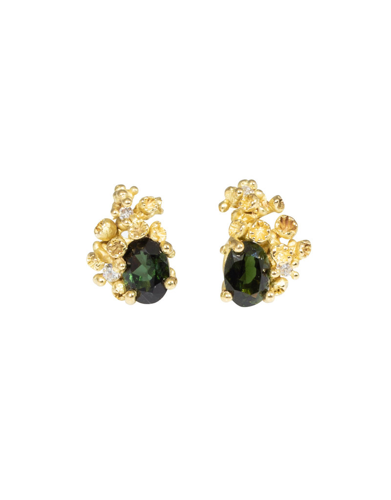 Green Tourmaline Post Earrings with Diamonds & Barnacles in 18k Yellow Gold