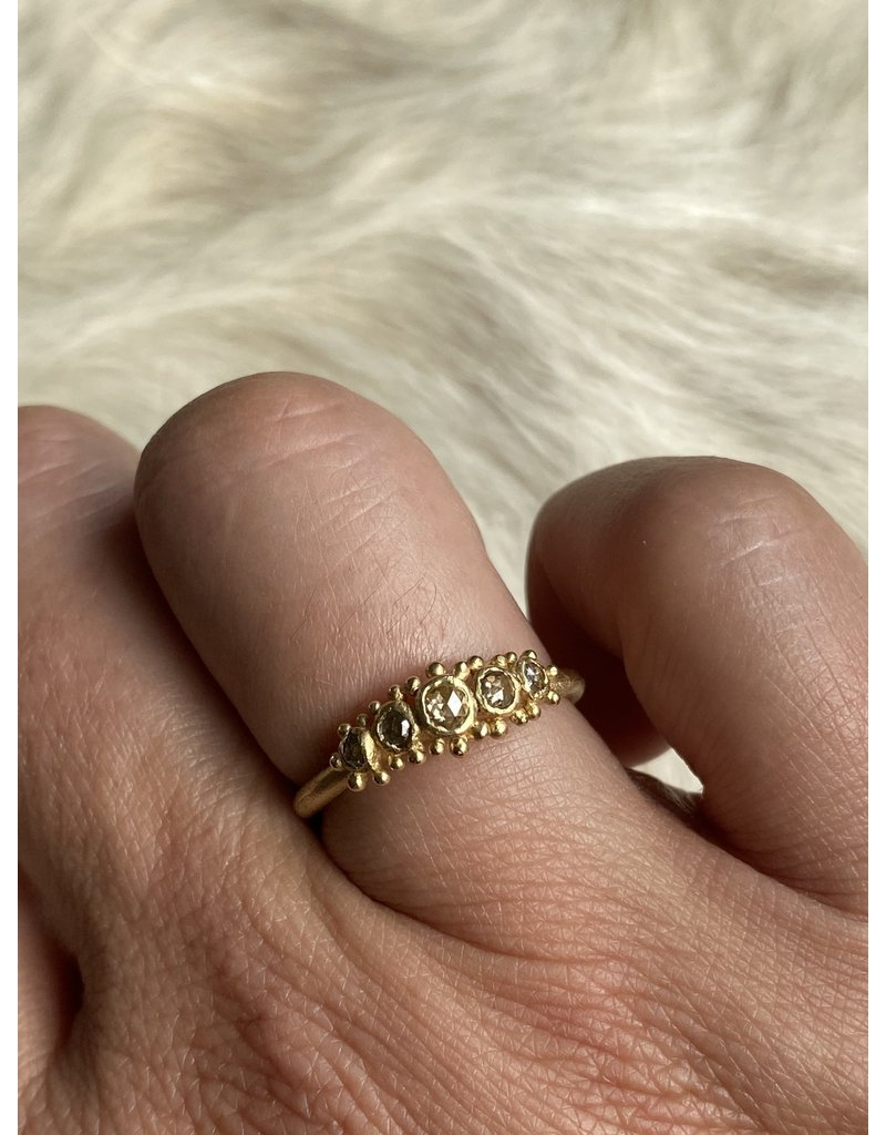 Five Stone Rose Cut Diamond Ring in 14k Yellow Gold