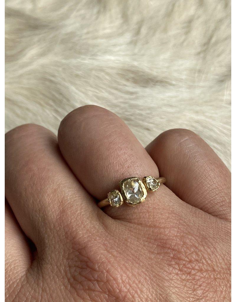 Raw White Diamond Trilogy Ring in 14k Yellow Gold
