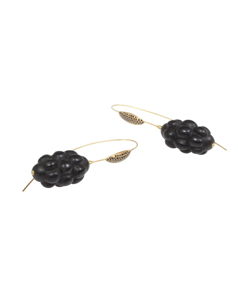 Jet Cluster Earrings with Black Diamonds