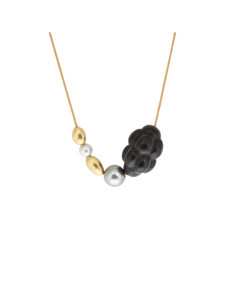 Jet Cluster Necklace with Pearls and 18k Yellow Gold Beads