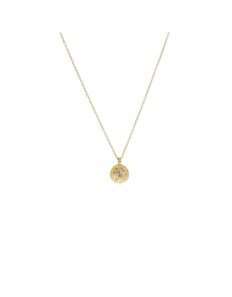Large Mixed Diamond Nest Pendant in 18k Yellow Gold