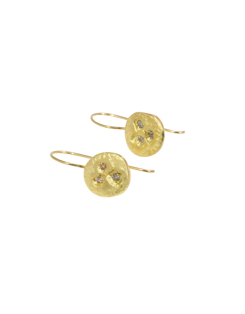 Hammered Nest Drop Earrings in 18k Yellow Gold