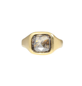 Rectangle Rosecut Salt and Pepper Diamond Ring in 18k Gold