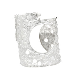 Circle Cuff Bracelet with Black Diamonds in Silver