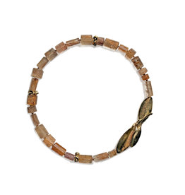 Copper Rutilated Quartz Necklace with Bronze Leaves Clasp