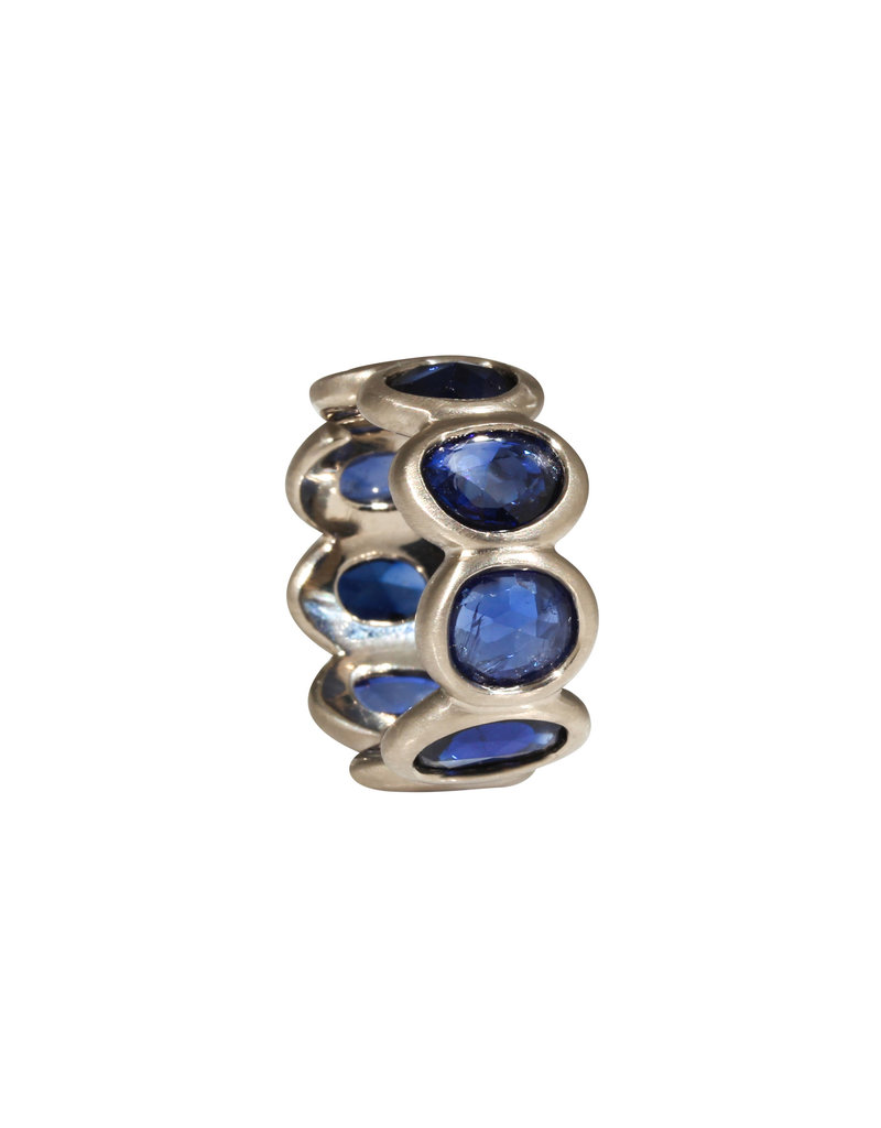 Eternity Ring with Blue Rosecut Organic Shaped Sapphires in 18k PW Gold