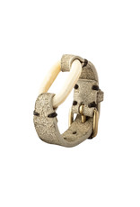 Parts of Four Link Gauntlet in Bone with Natural Leather
