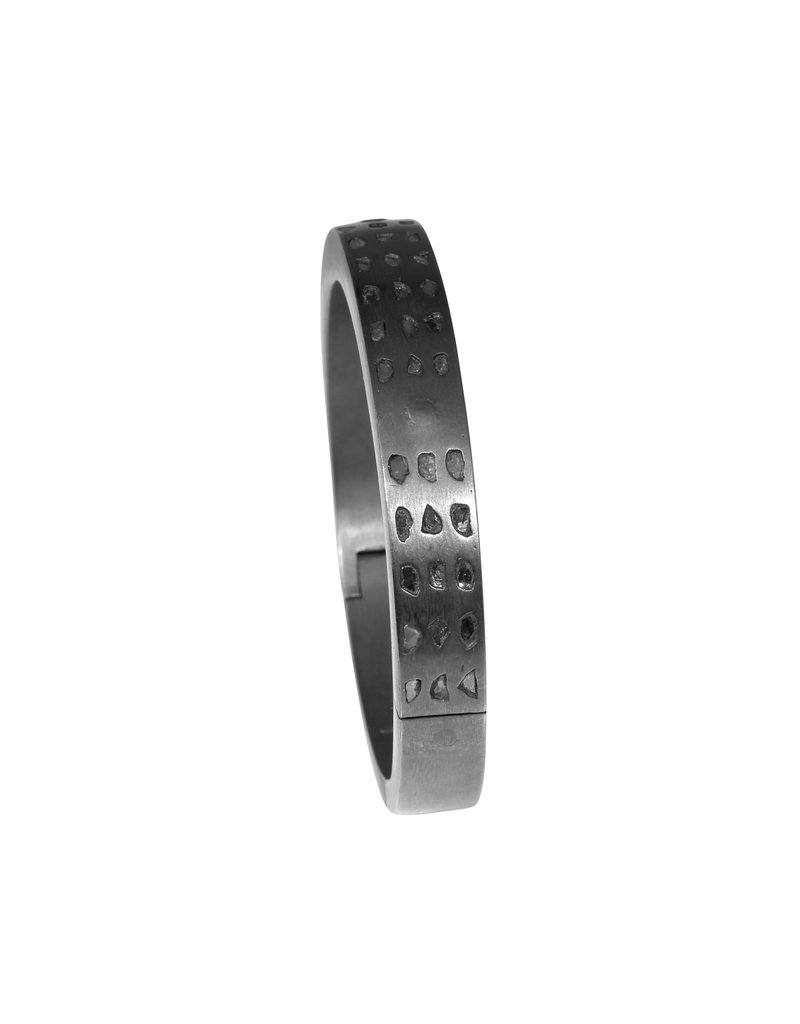 Parts of Four Linear Mega Pavé Sistema Bracelet in Blackened Silver