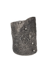 Perforated Cuff Bracelet with Black Diamonds in Oxidized Silver