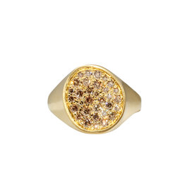 Organic Shaped Pave Signet Ring with Cognac Diamonds in 18k Yellow Gold