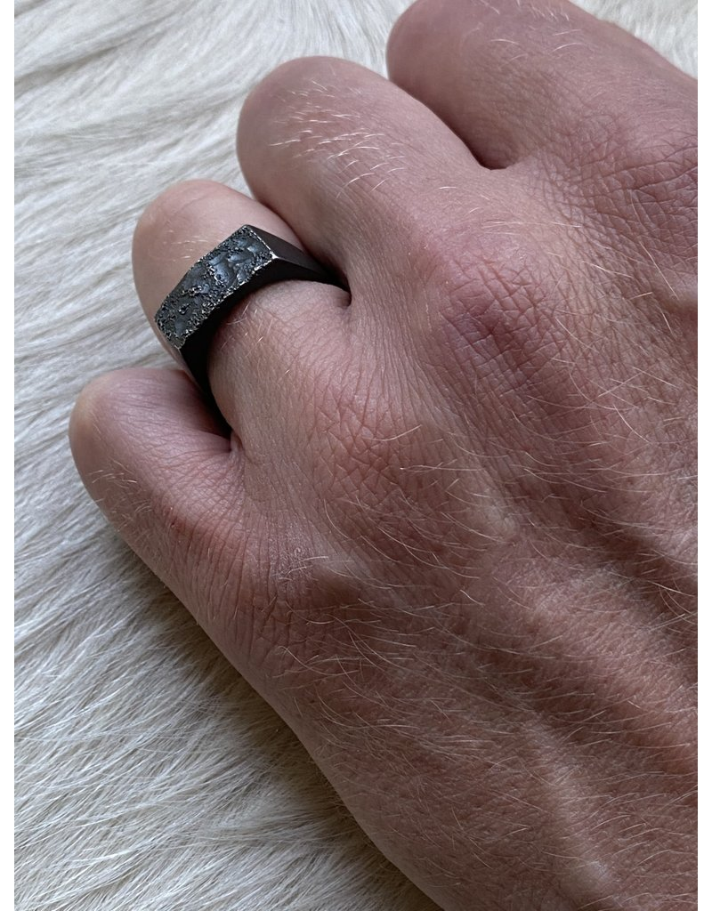 Topography Signet Ring in Oxidized Silver