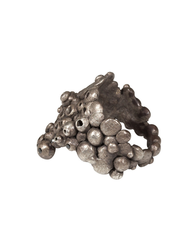 Oxidized Silver Ring with Black Diamonds