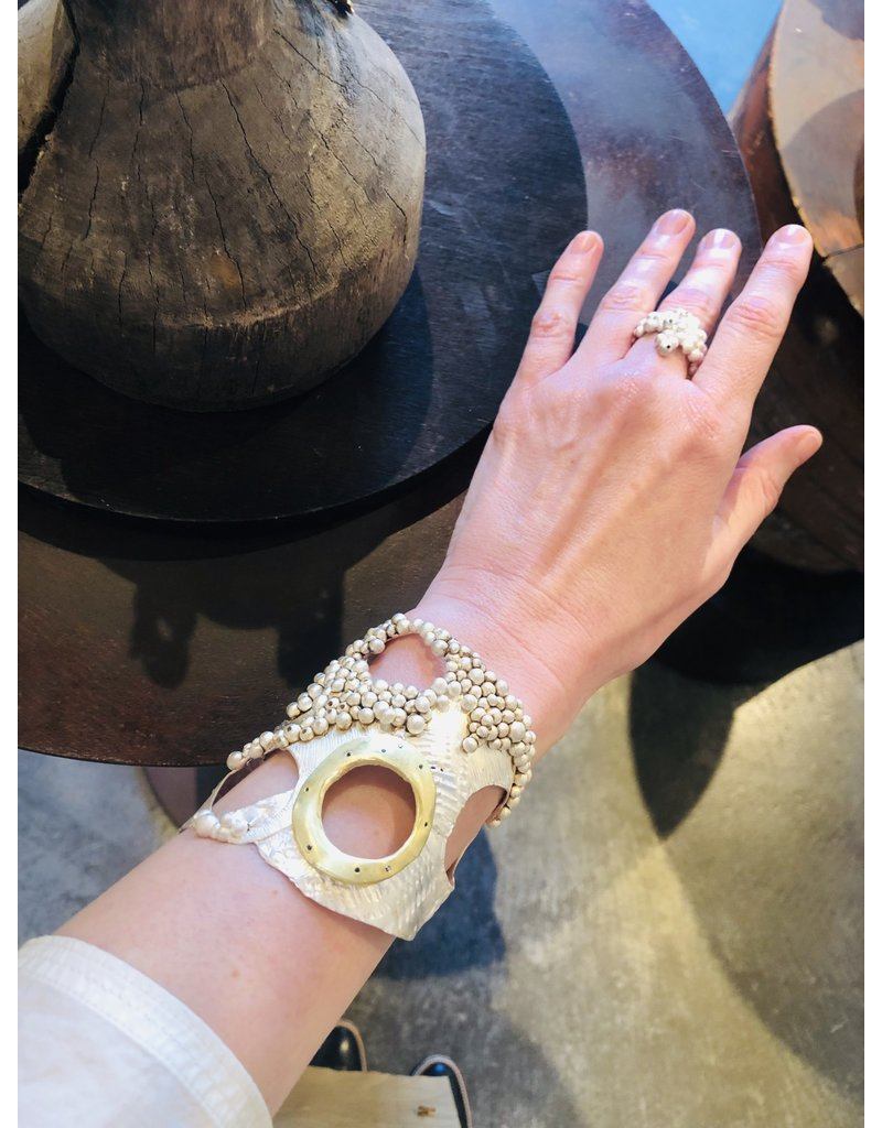 Silver Cuff Bracelet with Gold Circle