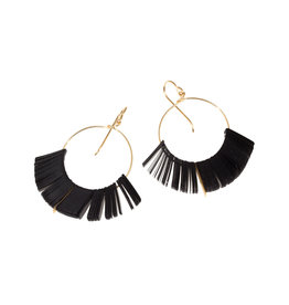 Cuervo Hoop Earrings with Black Sequins & Bars