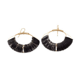 Cuervo Marquise Hoop Earrings with Black Sequins